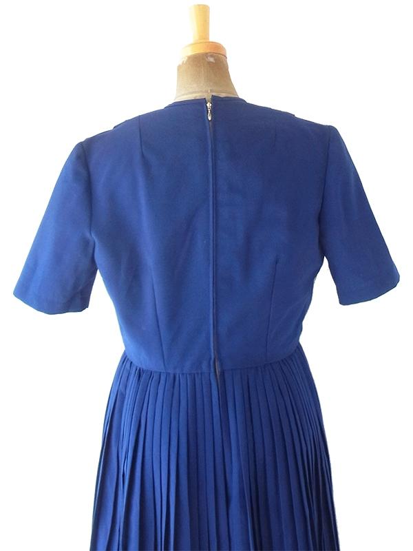 【送料無料】ロンドン買い付け 60年代製 ロイヤルブルー X 総プリーツ ウール混 ヴィンテージ ワンピース 21OM700【ヨーロッパ古着】