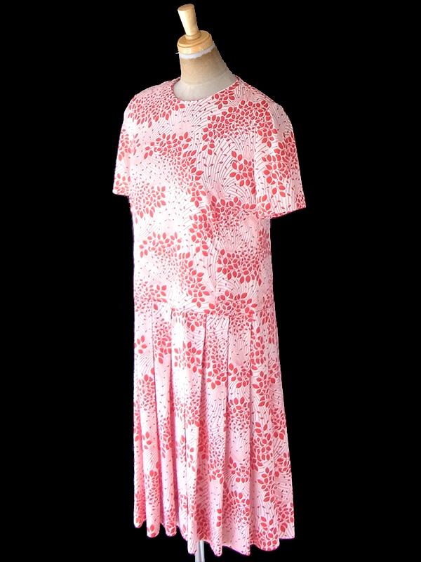 【送料無料】ロンドン買い付け 70年代製 ホワイト X レッド 花柄 ヴィンテージ プリーツ ワンピース 21OM701【ヨーロッパ古着】