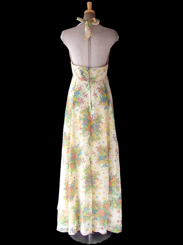 ヨーロッパ古着 ロンドン買い付け 70年代製 淡いイエロー X カラフル 花柄 ホルターネック ワンピース 4L381